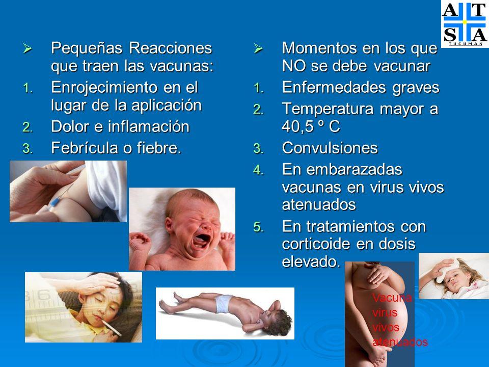 Pequeñas Reacciones que traen las vacunas: