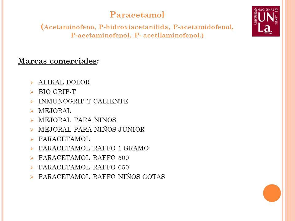 Paracetamol (Acetaminofeno, P-hidroxiacetanilida, P-acetamidofenol,