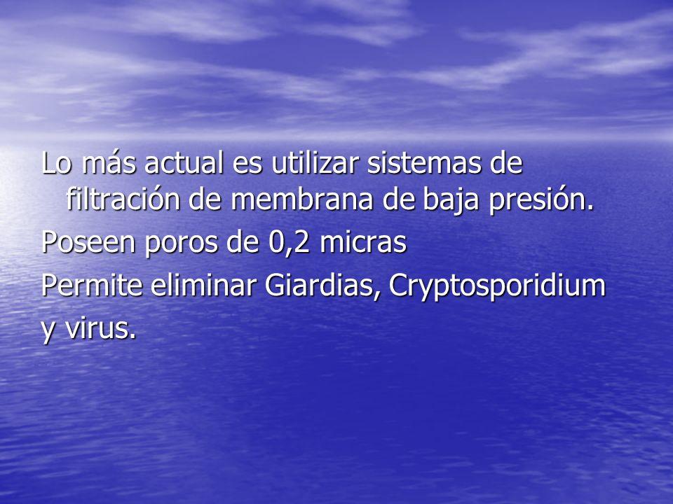 Lo más actual es utilizar sistemas de filtración de membrana de baja presión.