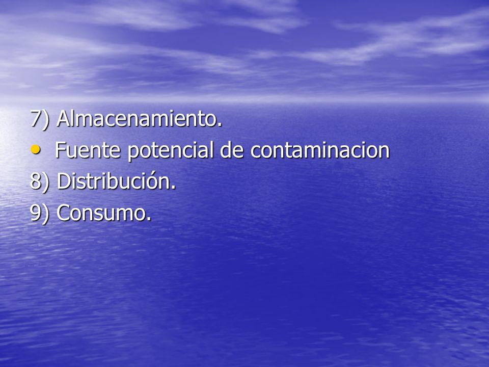 7) Almacenamiento. Fuente potencial de contaminacion 8) Distribución. 9) Consumo.