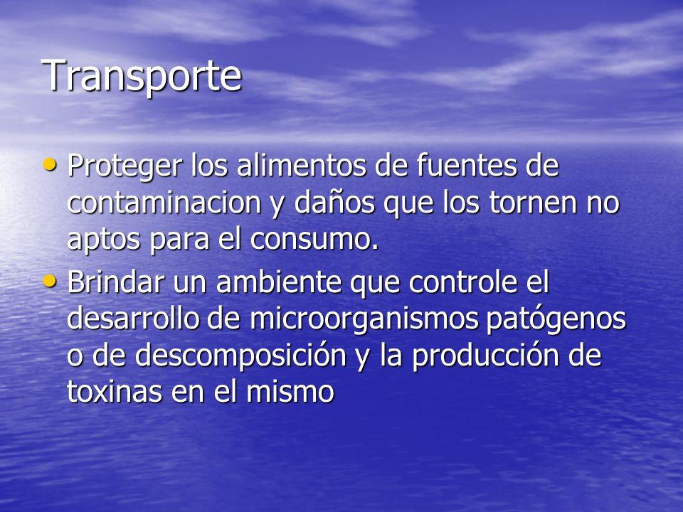 Transporte Proteger los alimentos de fuentes de contaminacion y daños que los tornen no aptos para el consumo.