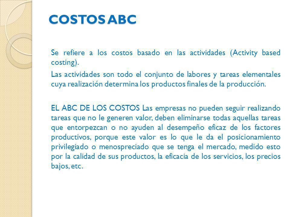 COSTOS ABC Se refiere a los costos basado en las actividades (Activity based costing).