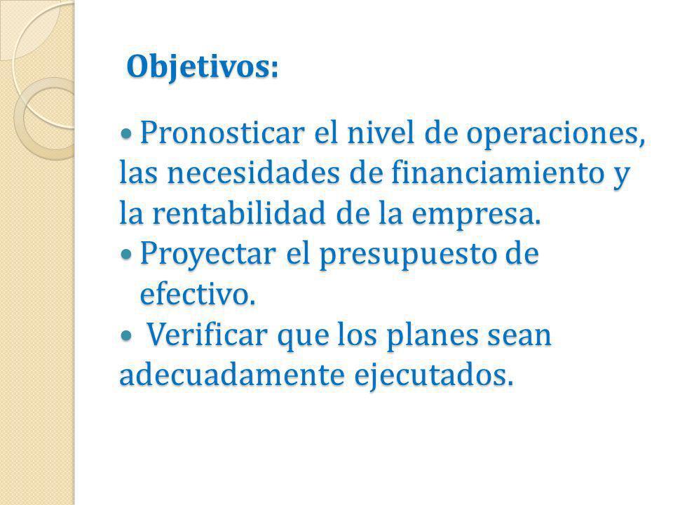 Objetivos:Pronosticar el nivel de operaciones, las necesidades de financiamiento y la rentabilidad de la empresa.