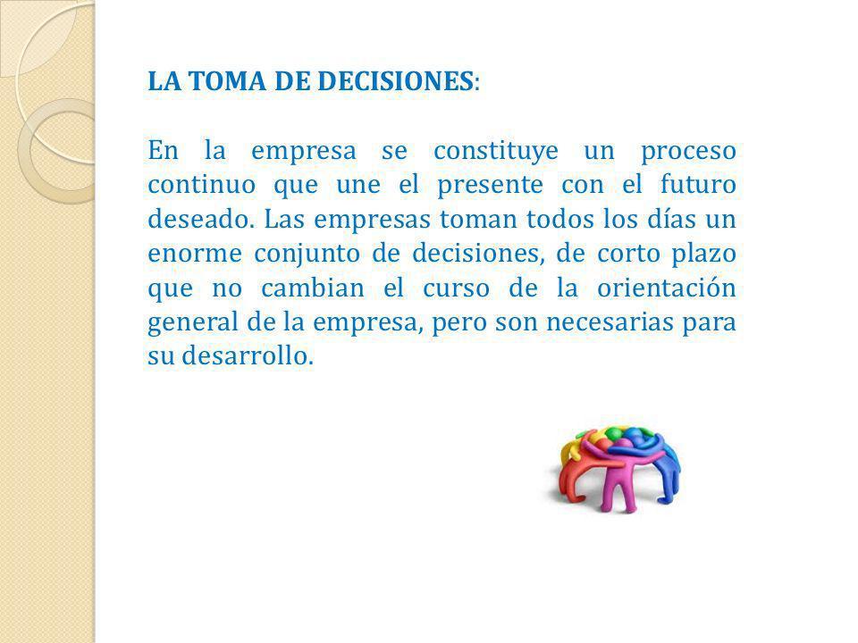 LA TOMA DE DECISIONES: