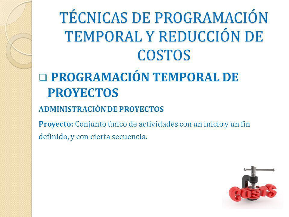 TÉCNICAS DE PROGRAMACIÓN TEMPORAL Y REDUCCIÓN DE COSTOS