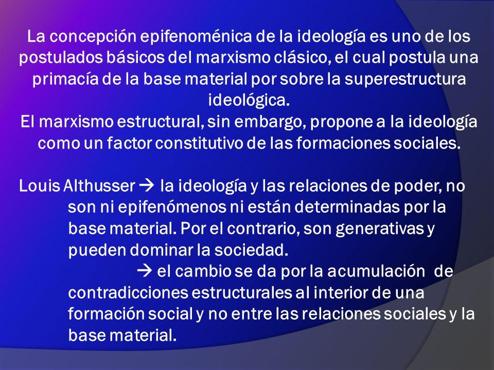 La concepción epifenoménica de la ideología es uno de los postulados básicos del marxismo clásico, el cual postula una primacía de la base material por sobre la superestructura ideológica.