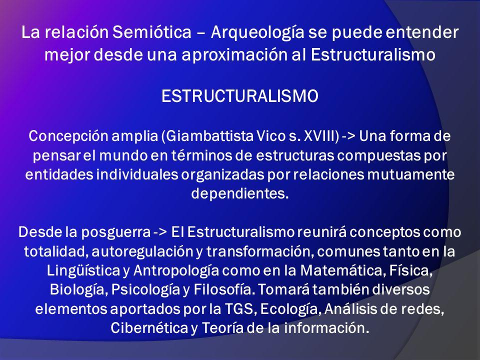 La relación Semiótica – Arqueología se puede entender mejor desde una aproximación al Estructuralismo