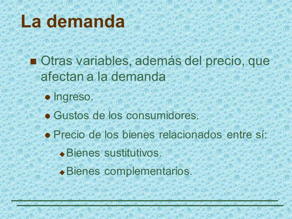 La demanda Otras variables, además del precio, que afectan a la demanda. Ingreso. Gustos de los consumidores.
