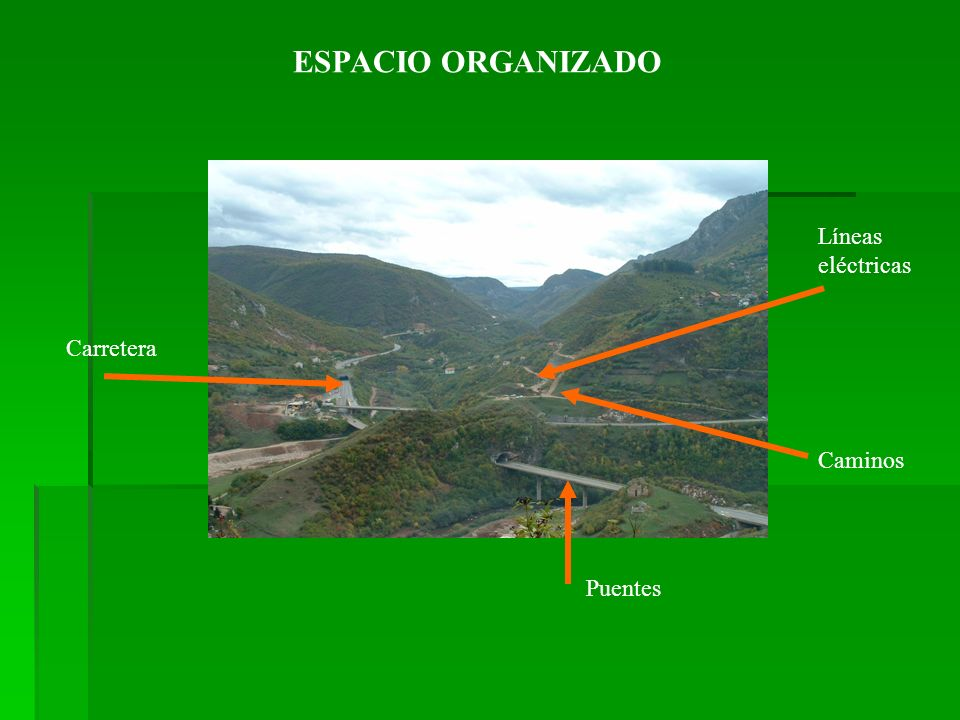 ESPACIO ORGANIZADO Líneas eléctricas Carretera Caminos Puentes
