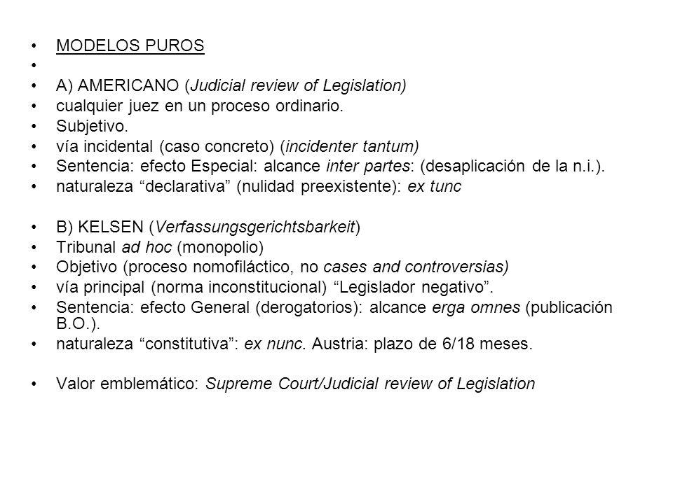 MODELOS PUROS A) AMERICANO (Judicial review of Legislation) cualquier juez en un proceso ordinario.