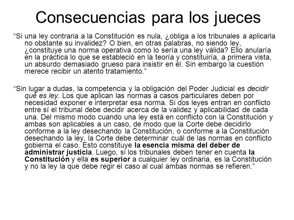 Consecuencias para los jueces