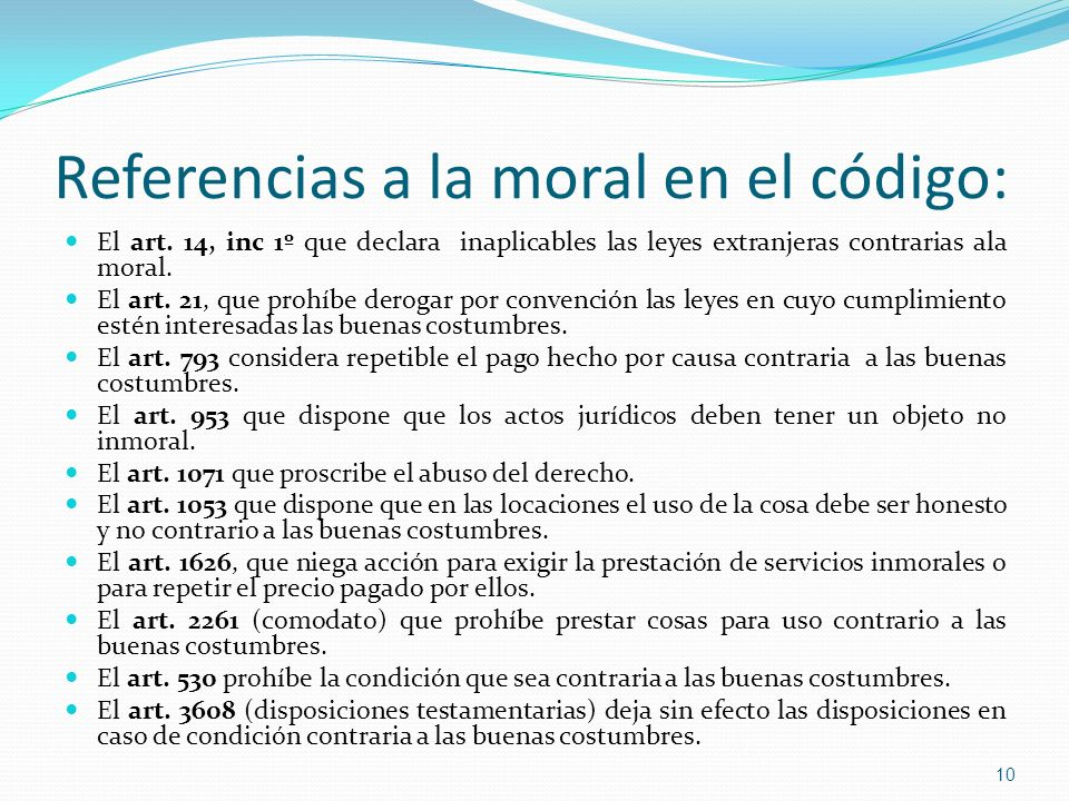 Referencias a la moral en el código: