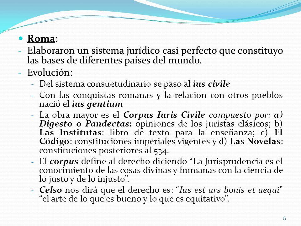 Roma: Elaboraron un sistema jurídico casi perfecto que constituyo las bases de diferentes países del mundo.
