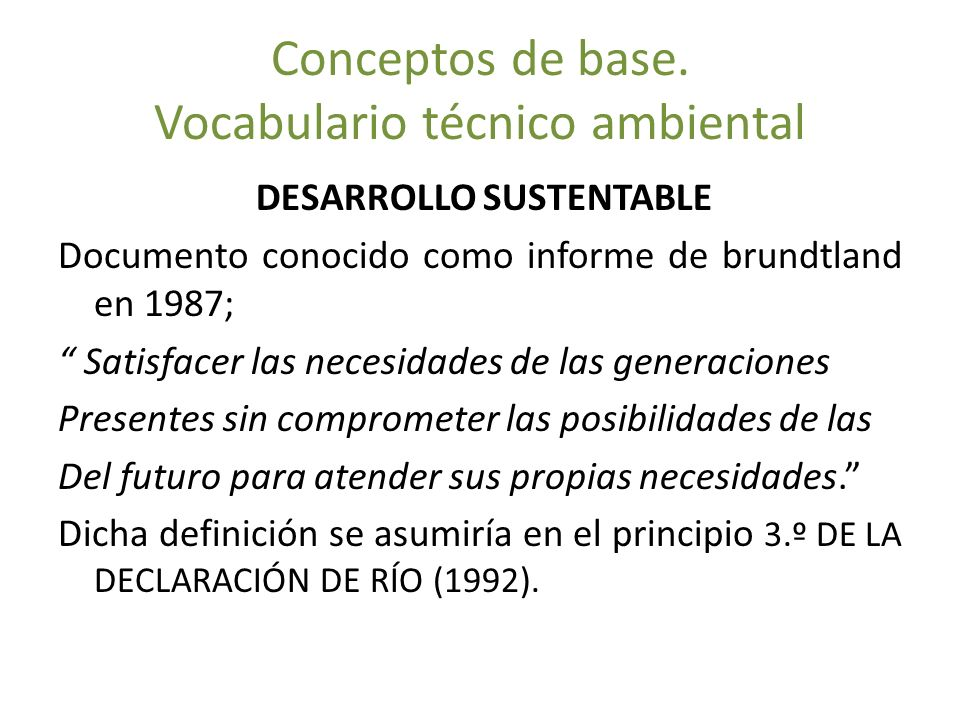 Conceptos de base. Vocabulario técnico ambiental