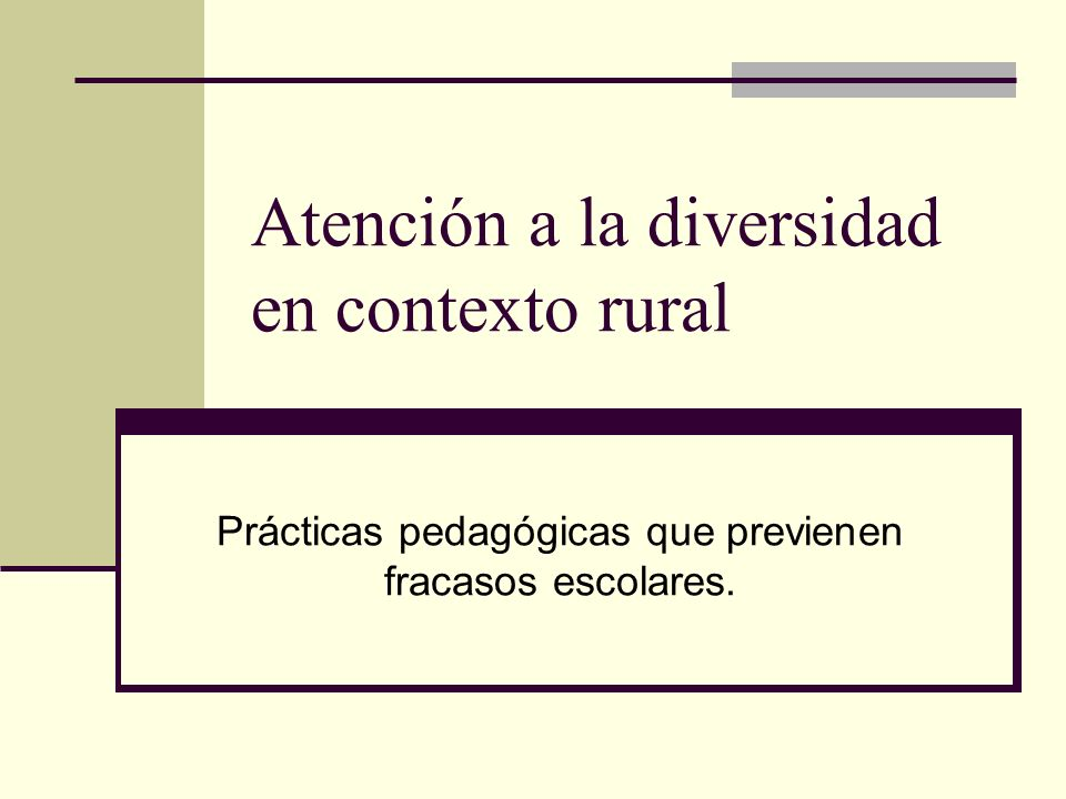 Atención a la diversidad en contexto rural
