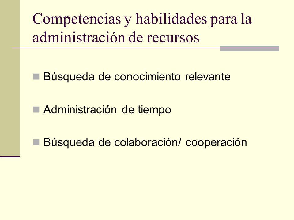 Competencias y habilidades para la administración de recursos