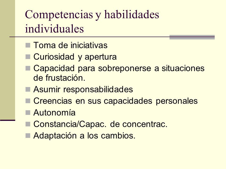 Competencias y habilidades individuales