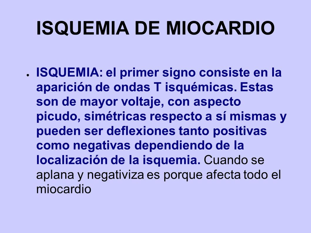 ISQUEMIA DE MIOCARDIO