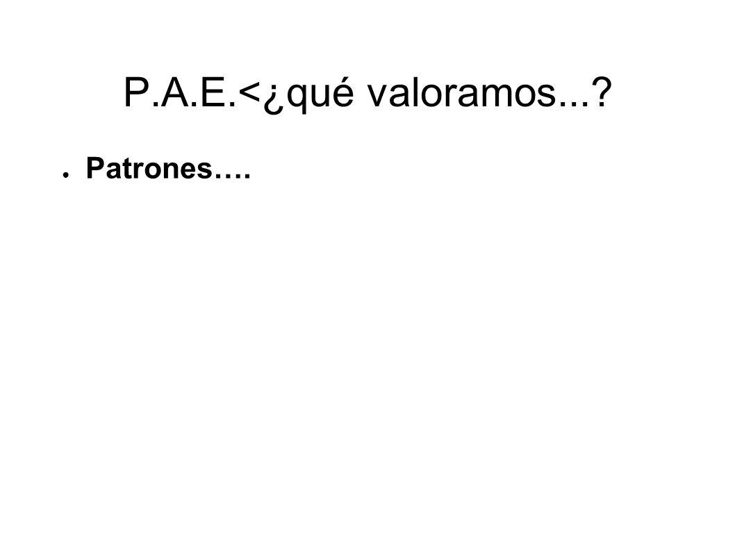 P.A.E.<¿qué valoramos...