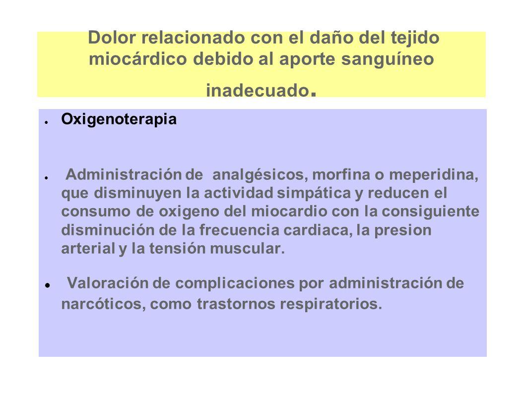 Dolor relacionado con el daño del tejido miocárdico debido al aporte sanguíneo inadecuado.