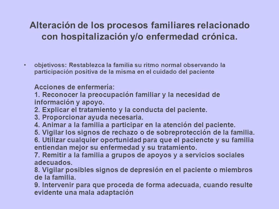 Alteración de los procesos familiares relacionado con hospitalización y/o enfermedad crónica.