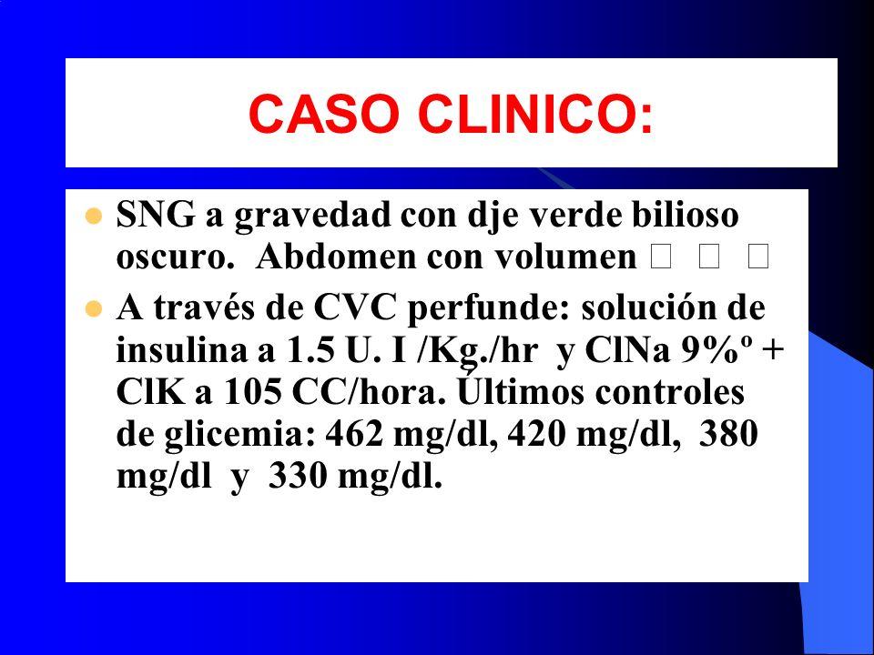 CASO CLINICO: SNG a gravedad con dje verde bilioso oscuro. Abdomen con volumen