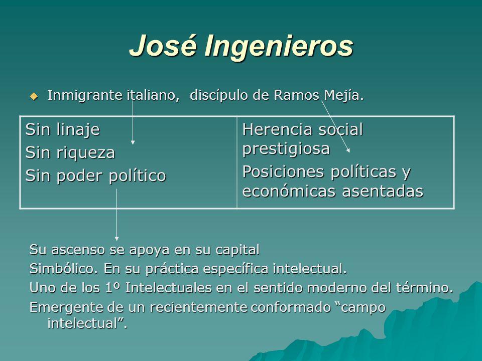 José Ingenieros Sin linaje Sin riqueza Sin poder político