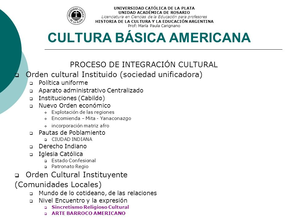 CULTURA BÁSICA AMERICANA