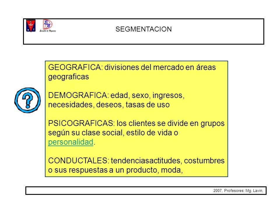 GEOGRAFICA: divisiones del mercado en áreas geograficas
