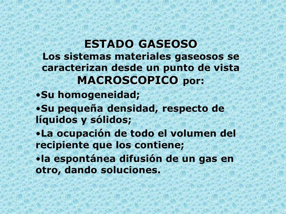 ESTADO GASEOSO Los sistemas materiales gaseosos se caracterizan desde un punto de vista MACROSCOPICO por: