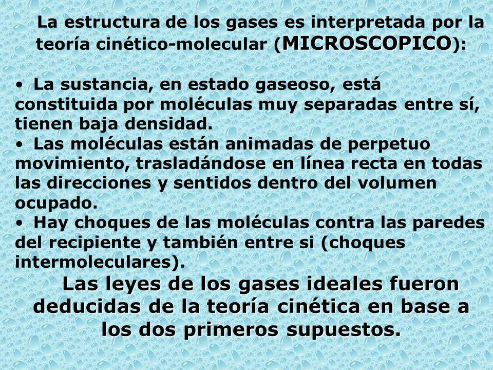 La estructura de los gases es interpretada por la teoría cinético-molecular (MICROSCOPICO):