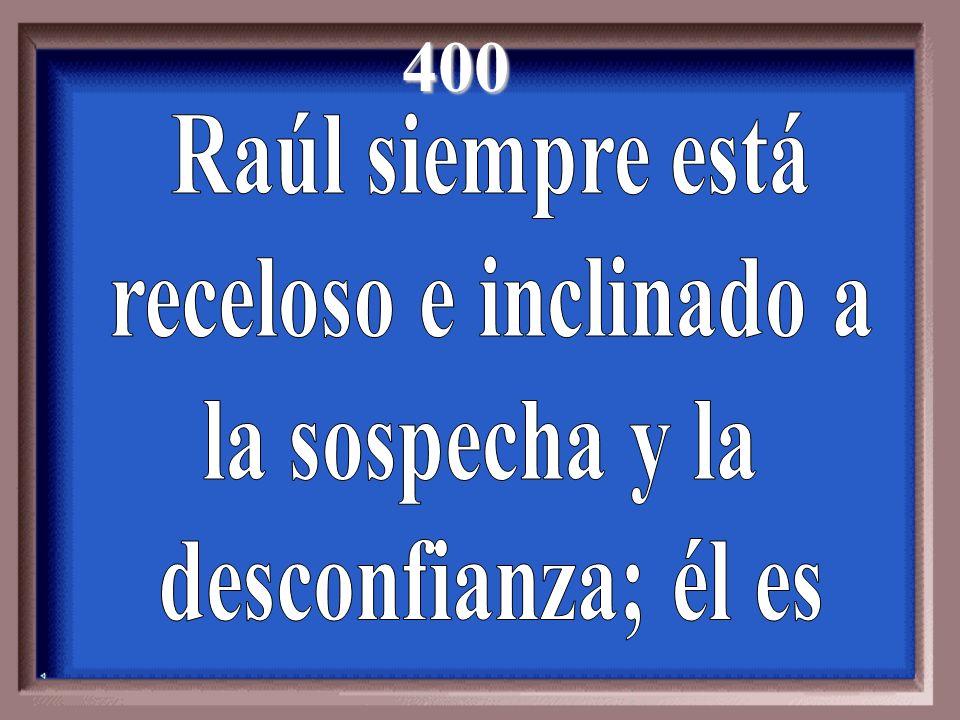 400 Raúl siempre está receloso e inclinado a la sospecha y la