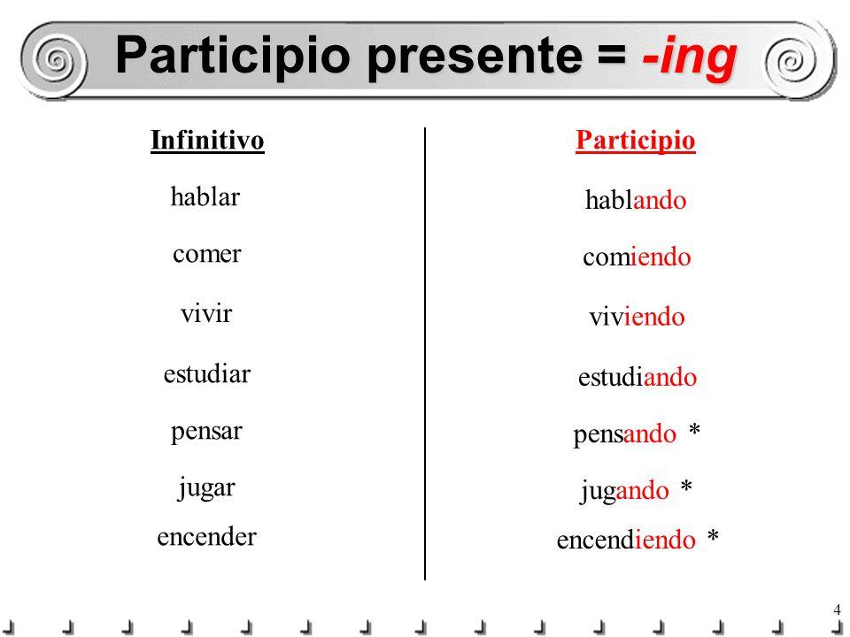 Participio presente = -ing