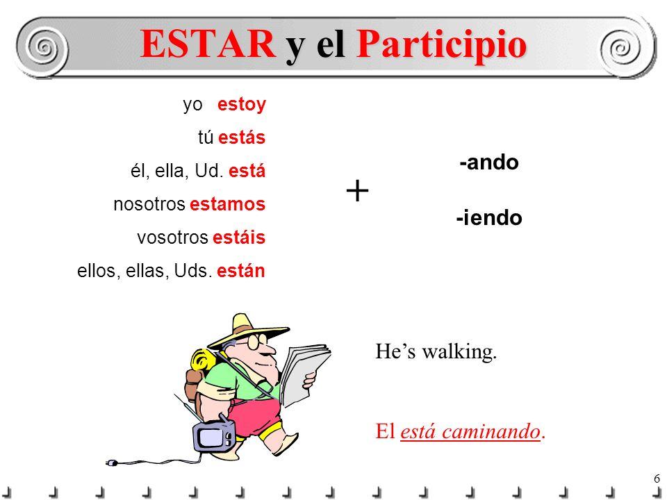 ESTAR y el Participio + -ando -iendo He's walking. El está caminando.