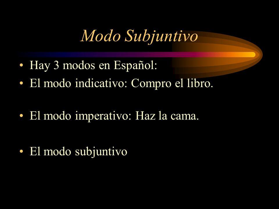 Modo Subjuntivo Hay 3 modos en Español: