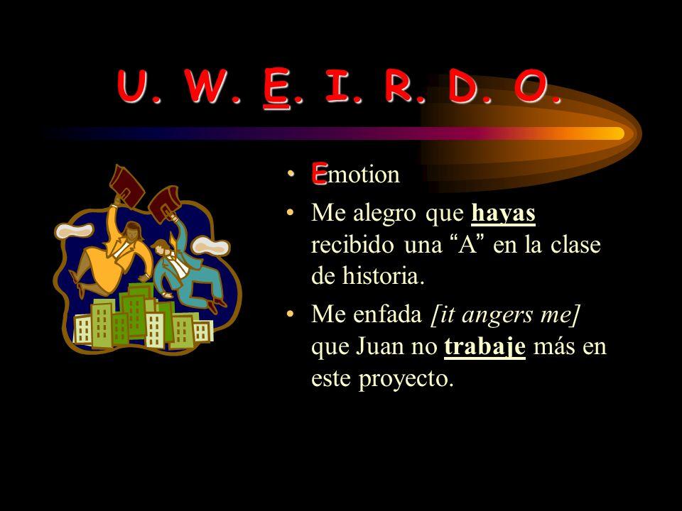 U. W. E. I. R. D. O. Emotion. Me alegro que hayas recibido una A en la clase de historia.