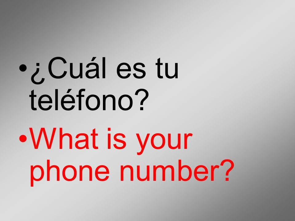 ¿Cuál es tu teléfono What is your phone number