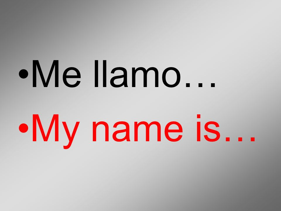 Me llamo… My name is…