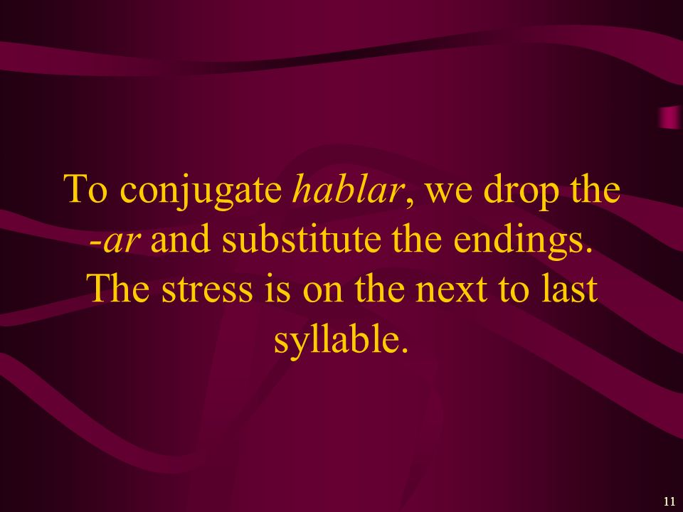To conjugate hablar, we drop the -ar and substitute the endings