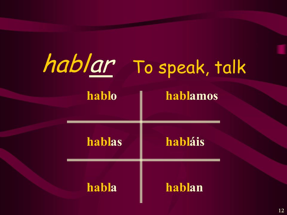 habl ar To speak, talk habl o as a amos áis an