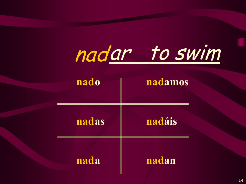ar to swim nad nad o as a amos áis an