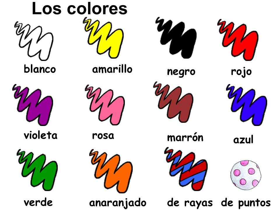 Los colores blanco amarillo negro rojo violeta rosa marrón azul verde