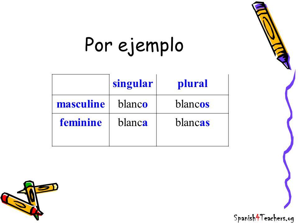 Por ejemplo singular plural masculine blanco blancos feminine blanca