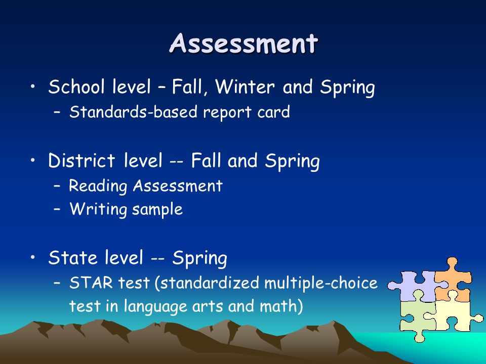 Assessment School level – Fall, Winter and Spring
