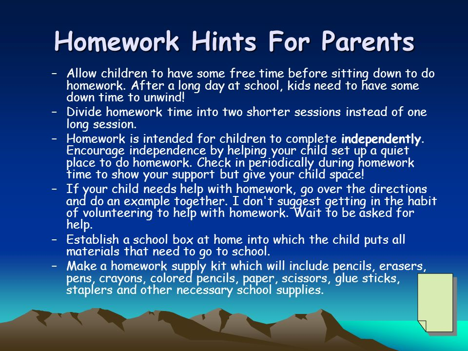 Homework Hints For Parents