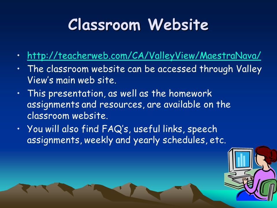 Classroom Website http://teacherweb.com/CA/ValleyView/MaestraNava/