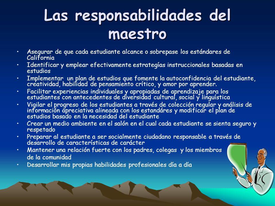 Las responsabilidades del maestro