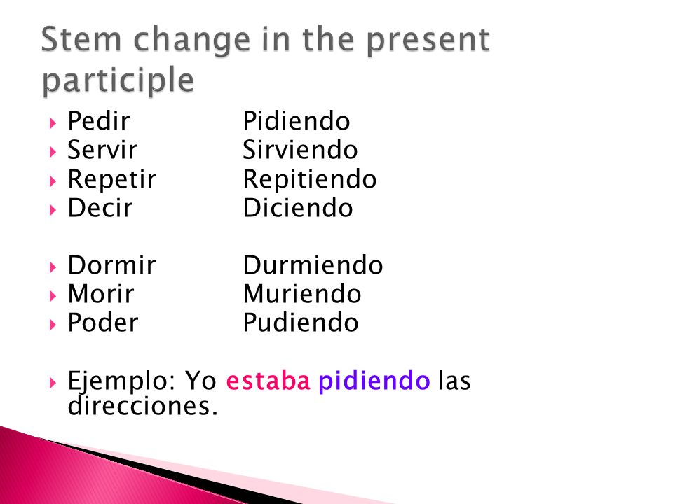 Stem change in the present participle