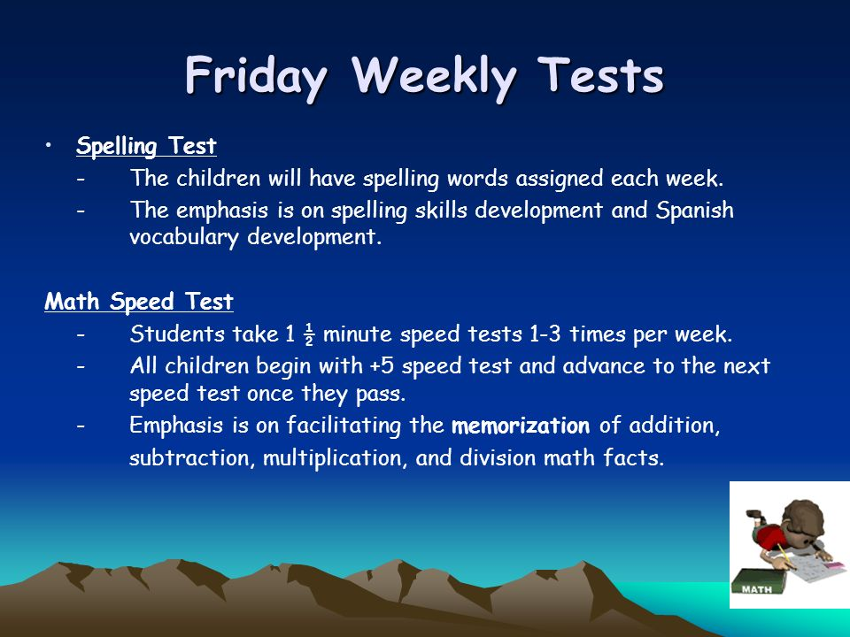 Friday Weekly Tests Spelling Test