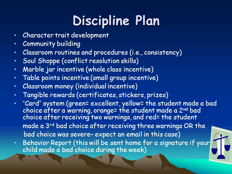 Discipline Plan Character trait development Community building